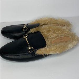 A New Day Rebe black faux fur slides, size 9
